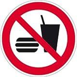 Aufkleber Essen und Trinken verboten 20cm Ø Folie gemäß ISO 7010, P022