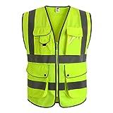 JKSafety Neun Taschen Unisex Hohe Sichtbarkeit Warnweste Reflektierende Weste Reißverschluss EN ISO 20471