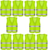 10 Stück Warnweste Pannenweste Warnwesten Set für Auto Neon Gelb | Knitterfrei | Waschbar |360 Grad Reflektierende Schutz Weste KFZ EN471 Prowiste