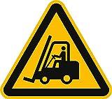 Schild Warnung vor Flurförderzeugen 30cm sl Alu gemäß ISO 7010, W014