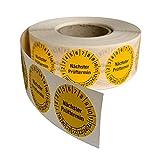 Prüfplaketten'Nächster Prüftermin' in gelb, 1000 Stück auf Rolle, Ø 30 mm, selbstklebende Folie, Mehrjahresprüfplakette der Jahre 19-24