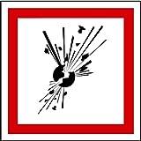 LEMAX Aufkleber GHS 01 Gefahrensymbole Explodierende Bombe, Einzeln 50x50mm