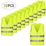 FEMOR Warnwesten, 10PCS Sicherheitswesten, Pannenweste für Auto, Fahrrad, Waschbar, Knitterfrei(XXXL,69 x 45cm,Gelb)