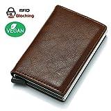Smartes Kreditkartenetui mit RFID Schutz. Slim Wallet. Veganes Material. Umweltbewusst verpackt (Dunkelbraun)