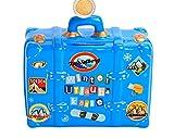 Spardose Urlaub aus Keramik mit'Winterurlaub' Schriftzug und Schlüssel - Toller Koffer als Geldgeschenk für eine Reise - Reisekoffer in blau