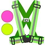 Warnweste / Reflektorweste / Sicherheitsweste einstellbar leicht und elastisch mit Identifizierungslabel für Notfälle - Sicherheits zubehör für Erwachsene und Kinder - Gelb / Rosa. Zum Laufen Motorrad (Größe - GELB, L/XL/XXL)