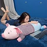 shyerr Piggy Plüschtier Puppe Bett Mit Ihnen Schlafen Mit Kissen Lange Kissen Puppe Junge Niedliche Stoffpuppe Mädchen Spung-Lila Streifen EIN Halbes Bett 1,3 Meter