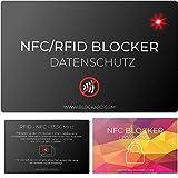 NFC Auslese Blocker Störsender Karte BLOCKARD mit LED Indikator - 100% Schutz vor unerlaubtem Auslesen Ihrer Kreditkarte Personalausweis EC-Karte Bankkarte Ausweis - Kreditkarten RFID-Blocker Hülle
