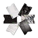 RFID & NFC geprüfte Kreditkarten-Schutzhülle (6 Stück) super dünn & robust für 100% Datenschutz - Motive (Black & White)