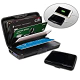 Kreditkartenetui aus Aluminium mit powerbank | blockiert RFID und NFC | Kartenhüllen aus Aluminium | Powerbank 2000mAh | 2 IN 1 Kartenetui und Powerbank | Schwarze Farbe