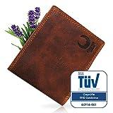 Geldbörse Herren Leder I XL Geldbeutel mit TÜV-zertifiziertem RFID Schutz I Brieftasche mit Münzfach aus Echtleder I Portemonnaie im Vintage-Look in hochwertiger Geschenk-Box I 43007W Corno d'Oro