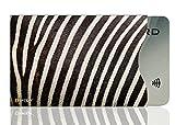 OPTEXX 1x RFID Schutzhülle Zebra Fell | TÜV geprüft & zertifiziert für Kreditkarte | EC-Karte | Personal-Ausweis Hülle sicheres Blocking von Funk Chips