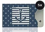 OPTEXX 5x RFID Schutzhülle TÜV geprüft & zertifiziert Seemann Anker / Sailor anchor für Kreditkarte   EC-Karte   Personal-Ausweis Hülle sicheres Blocking von Funk Chips