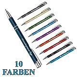 polar-effekt 10 Stück Metall Kugelschreiber mit Gravur des Namens - Geschenk-Idee Farbe blau