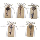 Awtlife, 50 Schlüssel-Flaschenöffner im Vintage-Stil mit Grußtasche für Hochzeitsgeschenke, 5 verschiedene Stile