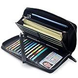 Portmonee Damen mit RFID Schutz Geldbeutel, Portemonnaie, Geldbörse, Brieftasche, Damengeldbeutel, Damengeldbörse lang groß viele fächer Leder Reissverschluss Schwarz