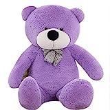 QIANGUANG 120cm Plüsch Bär Riesige weiche Teddybär Giant Kissen Geschenk XXL (Lila)