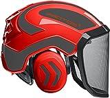 Protos Sicherheitshelm Integral Forest Gehörschutz, Farbe:rot/schwarz, Ausstattung:feines Visier