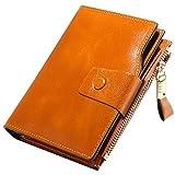 Geldbörse Damen RFID Schutz, Damen Geldbörse Echt Leder Clutch Brieftasche, 10 RFID Schutz Kartenfächer 2 ID Windows 6 Geld Fächer, Portemonnaie Deman Geschenkbox für Geschenke (9.8*2.8*12.5cm) (Braun)