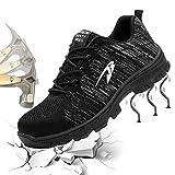 Gainow Damen Herren Arbeitsschuhe Stahlkappe Sicherheitsschuhe Sportlich 200J Leicht Stahlkappe Atmungsaktiv Schutzschuhe Trekking Wanderhalbschuhe Hiking Schuhe Traillaufschuhe (41 EU, Schwarz)