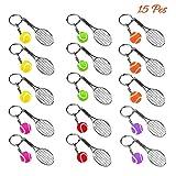 AUHOTA 15 Stücke Mini Tennis Schläger Form Schlüsselring Schlüsselbund Anhänger mit Bunten Ball, Nette Sport Stil Split Tennisschläger Schlüsselanhänger, Idee Geschenk für Team & Familie (6 Farben)