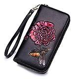 JCH-lug Wallet Leder-Reißverschluss-Frauen-Geldbörsen-Mode-Handbuch-Zeichnende Feste Blumen-Kupplungs-Hohe Kapazität Handtasche 20X11Cm Rot