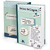 XXL Kollegenbuch DIN A4 grün blau Buch zum Einschreiben - Abschiedsgeschenk Abschiedsbuch Geschenk Erinnerung an Kollegen