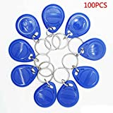 Sunlera 100pcs RFID Key Tag Keyfob Token Proximity ID Key Card ID Badge Holder Tag Keychain NFC 125KHZ TK4100