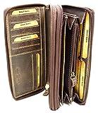 flevado Große Damen Leder Geldbörse in Hunter mit viel Stauraum und Platz für 24 Karten und RFID Schutz