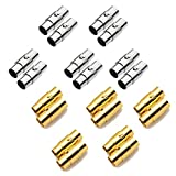 REKYO 20sets Leder Schnur Ende Kappe/Magnetverschluss mit Sperren Mechanismus Leder Seil Armband Schnalle Silber und Gold(3MM)