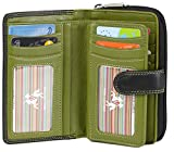 Visconti Bifold Leder Damen Geldbörse Colorado Combination Leather mehrfarbig Purse (CD-22) RFID, Schwarz/Grün (Black/Lime), Large