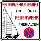 Schild Feuerwehrzufahrt Fläche für die Feuerwehr freihalten Halteverbot Alu 500 x 500 mm (parken verboten, Ausfahrt frei halten)
