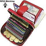 ENONEO Kreditkartenetui RFID Schutz Kartenhalter Geldbörse Damen Leder mit 12 Karten 4 ID Windows & 2 Geld Münzfach Fächer Geldbeutel Damen Klein Portemonnaie Frauen (Rot)