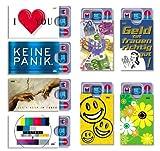 Kartenhüllen 'cardbox' BESTSELLER SET I /// Motive: I LOVE YOU / KEINE PANIK. / Michelangelo / TESTBOX / Euro / Geld tut ... / Smiley / Frühlingsblumen /// 8er SET /// Ausweishüllen / Kartenhüllen / Führerscheinhüllen / Hüllen für alle Karten im Scheckkartenformat