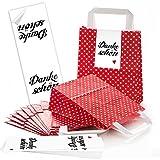 10 kleine rote Papiertüten Henkel + Boden + 10 schwarz weiße DANKE-SCHÖN Aufkleber - Verpackung Geschenktüten give-away Kunden Weihnachten Gastgeschenke Hochzeit Weihnachten HERZ