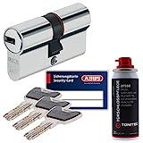 ToniTec Set aus ABUS Sicherheitsschloss Schließzylinder Profilzylinder XP20 XP20S mit Sicherungskarte 30/30 und ToniTec Pflegespray