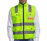 Sicherheitsweste mit Reißverschluss Warnweste XXL | Hohe Sichtbarkeit | Große Taschen | Reflektierende Arbeitsweste