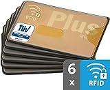 valonic RFID Blocker | transparent | TÜV geprüft | stabiles Plastik | 6 Stück NFC Schutzhülle | Kreditkartenhülle abgeschirmt