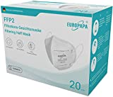 EUROPAPA 20 FFP2 Atemschutzmaske CE 2163 Zertifiziert 5-Lagen hygienisch einzelverpackt Mundschutzmaske EU 2016/425