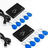 Neuftech 2X USB RFID Reader ID Kartenleser Kartenlesegerät kontaktlos Karte Reader für EM4100