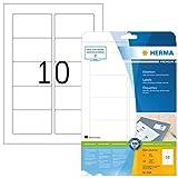 HERMA 5028 Universal Etiketten DIN A4 (83,8 x 50,8 mm, 25 Blatt, Papier, matt) selbstklebend, bedruckbar, permanent haftende Adressaufkleber, 250 Klebeetiketten, weiß