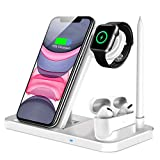 QI-EU Wireless Charger,4 in 1 Kabelloses Ladegerät mit Adapter Handy QI Induktive Ladestation für Apple Watch Airpods Pro iPhone 12/11/11pro/X/XS/XR/Xs Max/8/8 Plus Samsung Galaxy S20/S10