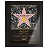 Casa Vivente Star of Fame, Hollywood Stern, Urkunde, Wanddeko im dunklen Bilderrahmen, Personalisiert mit Name und Datum, Druck gerahmt