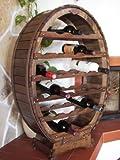 DanDiBo Weinregal aus Holz für 24 Flaschen Weinfass Braun gebeizt Bar Flaschenständer Fass Regal