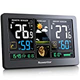 Newentor Wetterstation mit Außensensor Funk Multifunktionale Funkwetterstation Thermometer Hygrometer (Farbbildschirm)