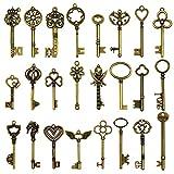 24 Stück große antike Bronze Skelett Schlüssel rustikalen Schlüssel für Hochzeit Dekoration gefallen, Halskette Anhänger