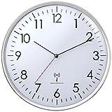 TFA Dostmann Analoge Funk-Wanduhr, Kunststoff, Silber, (L) 330 x (B) 42 x (H) 330 mm