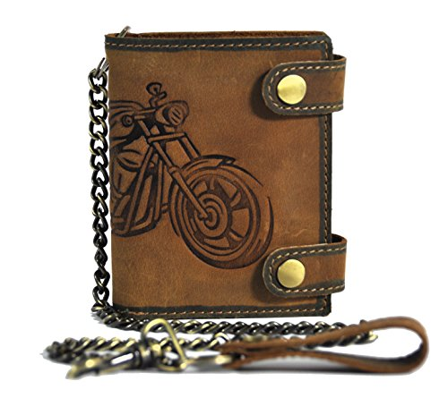 echt Leder Biker Geldbörse mit Kette &...