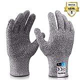 Grebarley Schnittschutzhandschuhe,Arbeitshandschuhe,Küchen Handschuhe,Level 5 Schutz,Lebensmittelecht,EN388 Zertifiziert,Gestrickt Handschuhe für Gartenbau/Baustelle/Küche,Grau 1Paar (L)