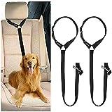 CGBOOM Universal Hunde Sicherheitsgurt fürs Auto Kopfstütze, Multifunktions Verstellbar Hundegurt Sicherheitsgeschirr Hundeanschnallgurt passend für Kleine, mittlere & große Hunde - 2 Pack (Schwarz)